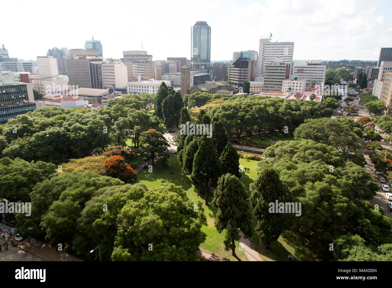 A sunny day at Africa Unity Square in Harare, Zimbabwe. - Stock Image