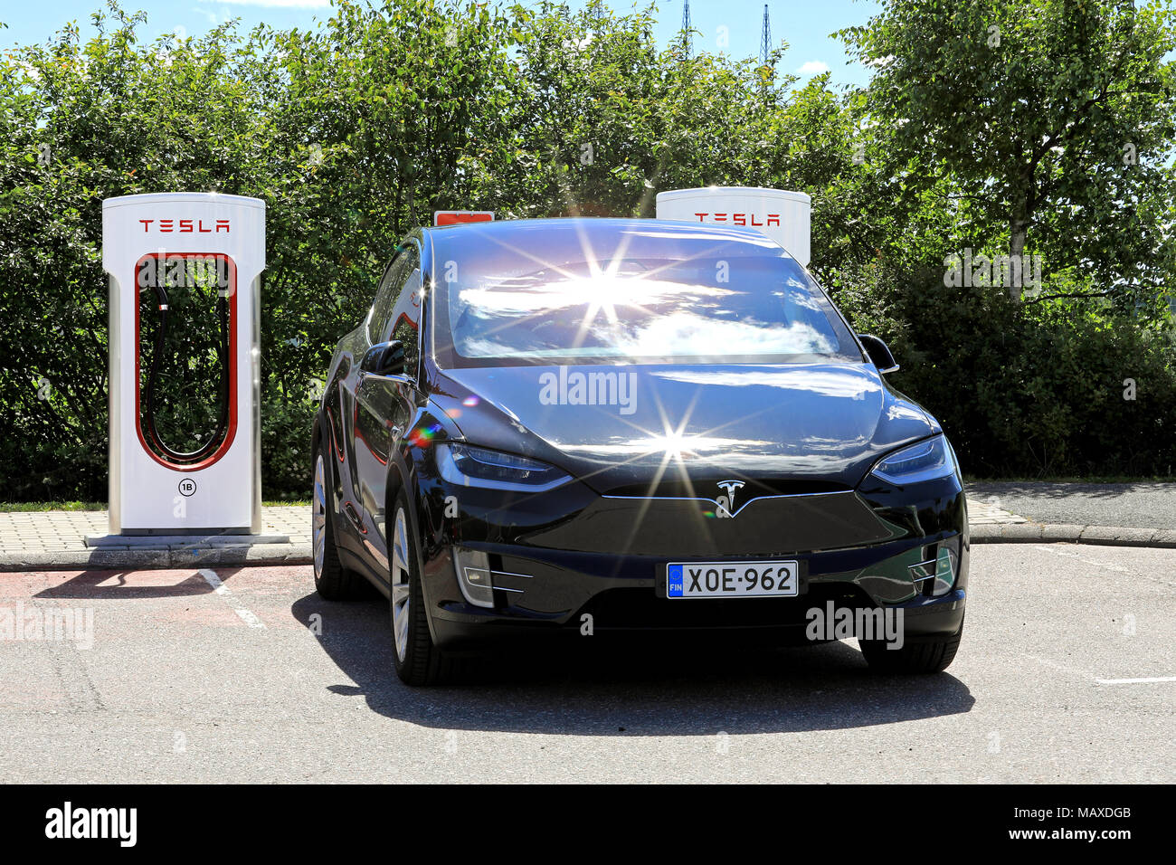Paimio Finland July 14 2017 Front View Of Black Tesla Model X
