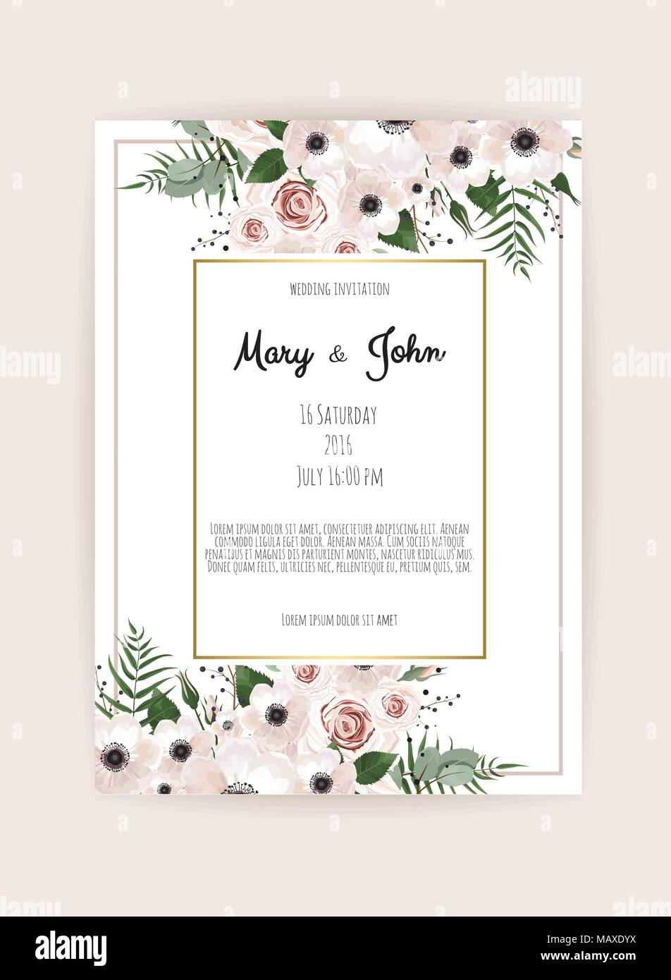 Vector Invitation With Handmade Floral Elements Wedding