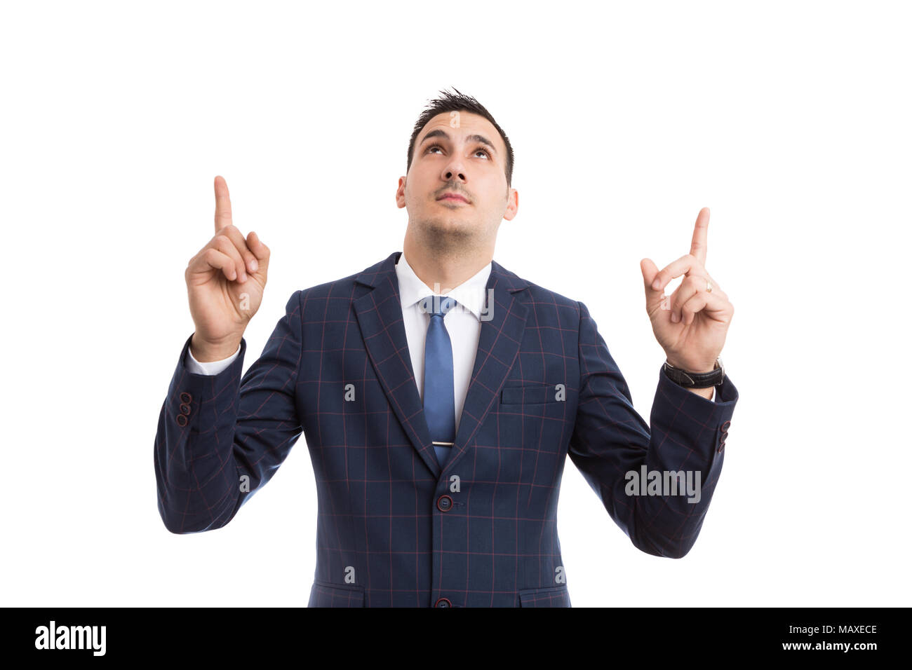 young handsome salesman or businessman pointing with both index