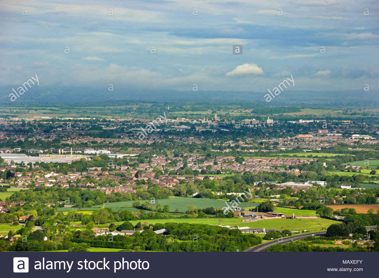The view looking towards the city of Gloucester from Barrow Wake viewpoint at Birdlip, Gloucestershire, England, UK - Stock Image