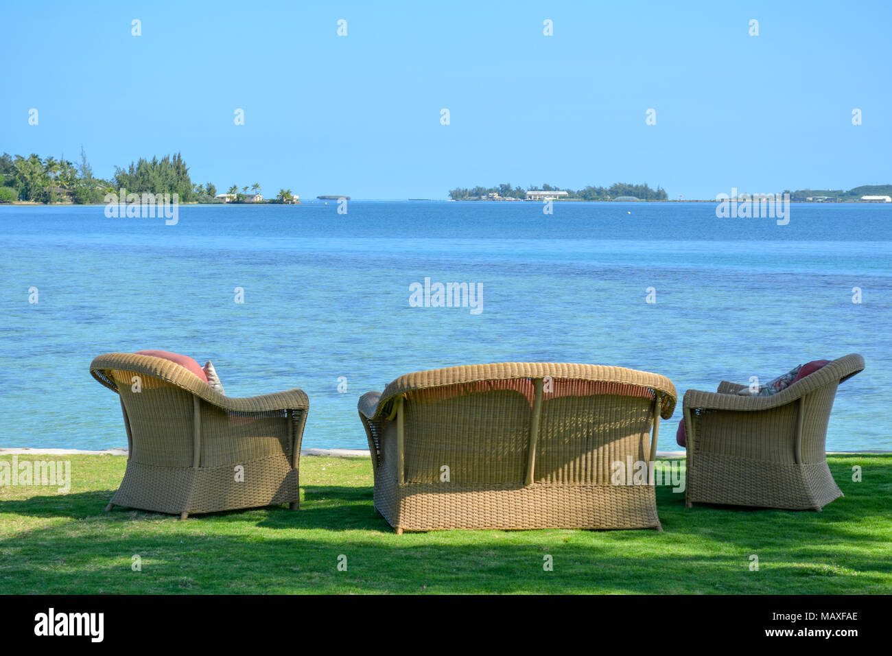 Lawn Chairs In A Hawaiian Waterfront Backyard. This Is On Oahuu0027s Kaneohe  Bay.
