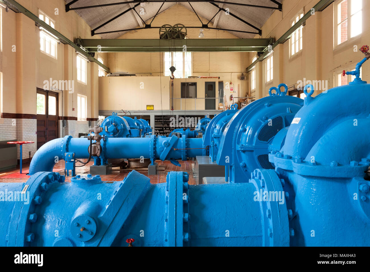 The pumping hall that houses the water pumps at Toronto's High Level Pumping Station. Toronto, Ontario, Canada. - Stock Image