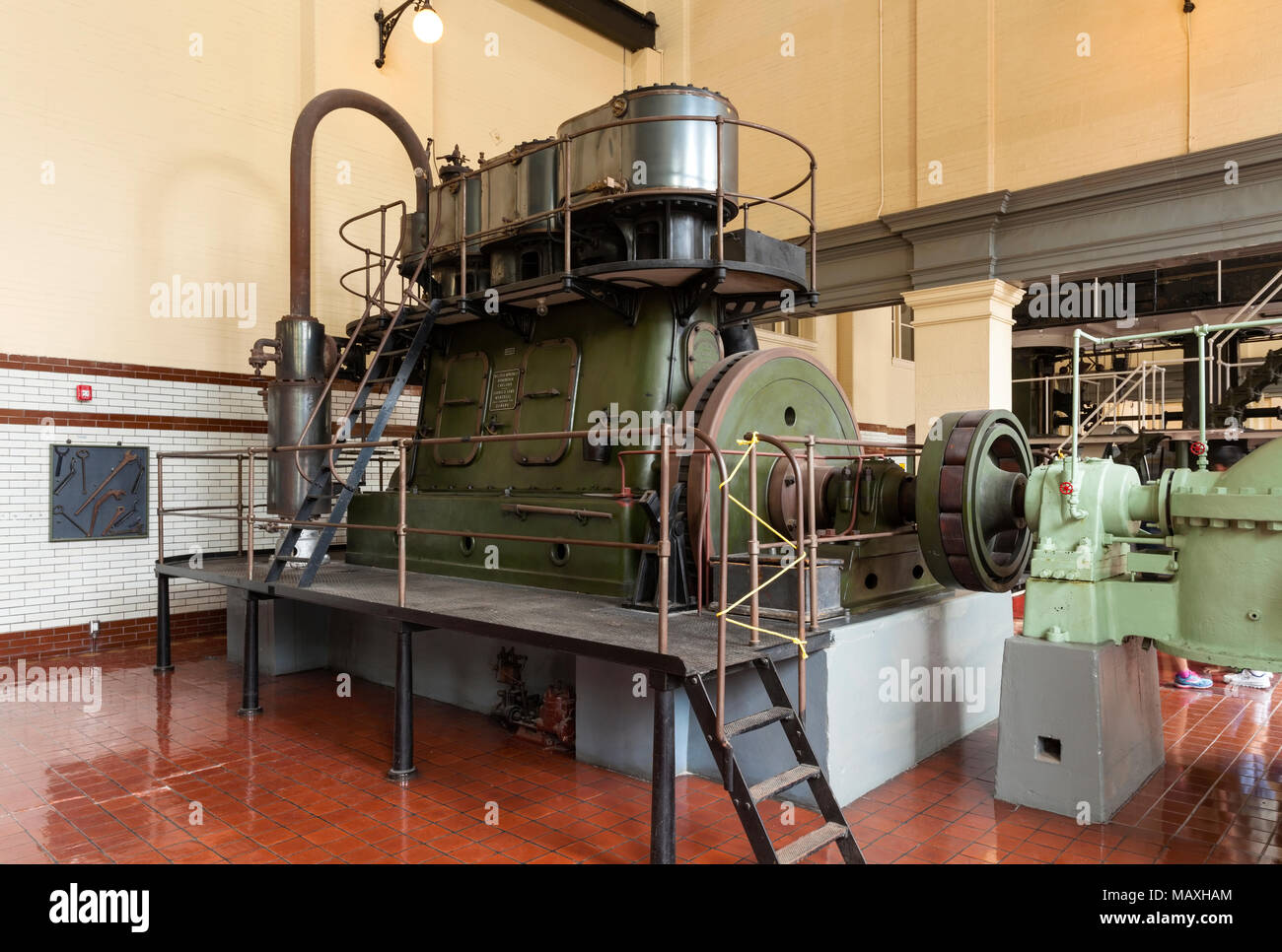 The main engine that powers the water pumps at Toronto's High Level Pumping Station. Toronto, Ontario, Canada. - Stock Image