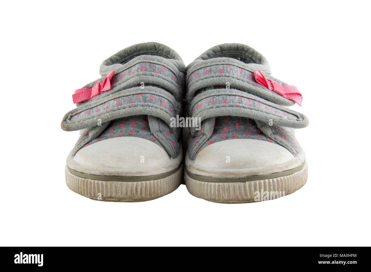 little girls shoes  isolated on white background - Stock Image