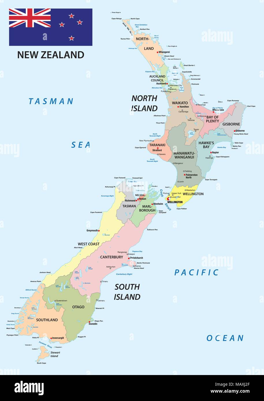 Map of new zealand stock photos map of new zealand stock images new zealand administrative and political vector map with flag stock image gumiabroncs Image collections