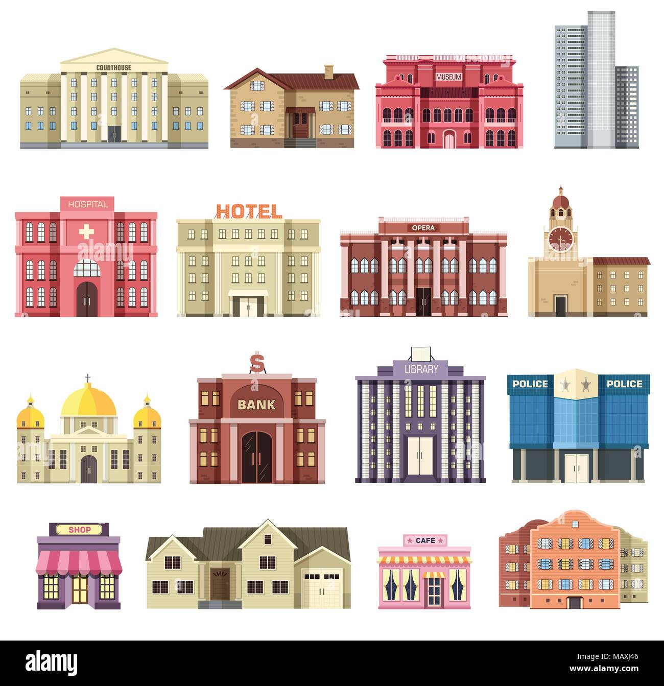 Flat colorful vector city buildings set. Icon background concept design. Architecture construction: courthouse, home, museum, skyscraper, hospital, hotel, opera, theater.  - Stock Vector