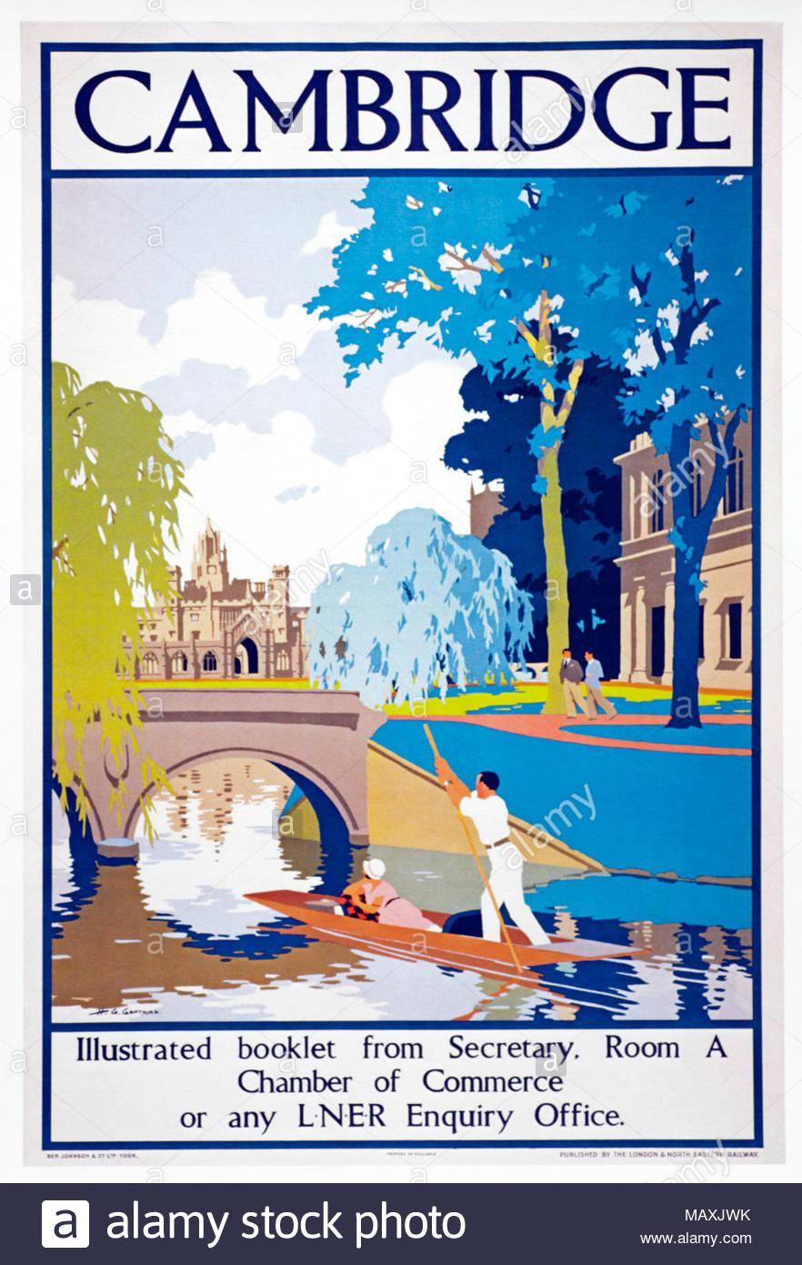 Cambridge England, London and North East Railway vintage travel poster circa 1925 Stock Photo