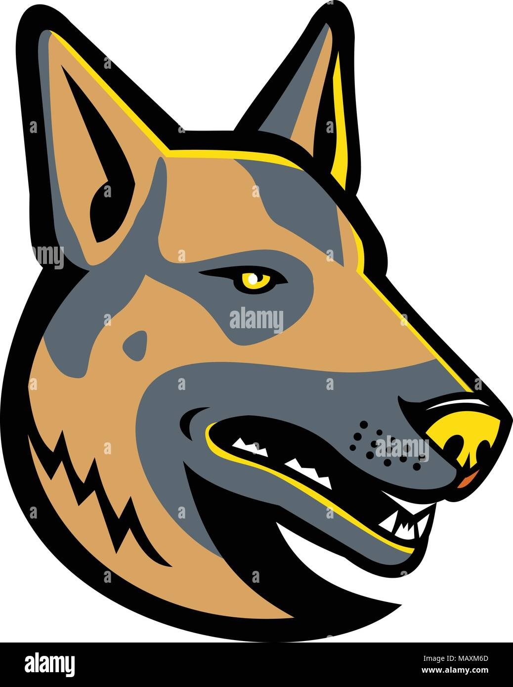 Mascot icon illustration of head of a German Shepherd, GSD, Alsatian wolf dog Berger, Allemand ,Deutscher, a breed of medium to large-sized working do - Stock Vector