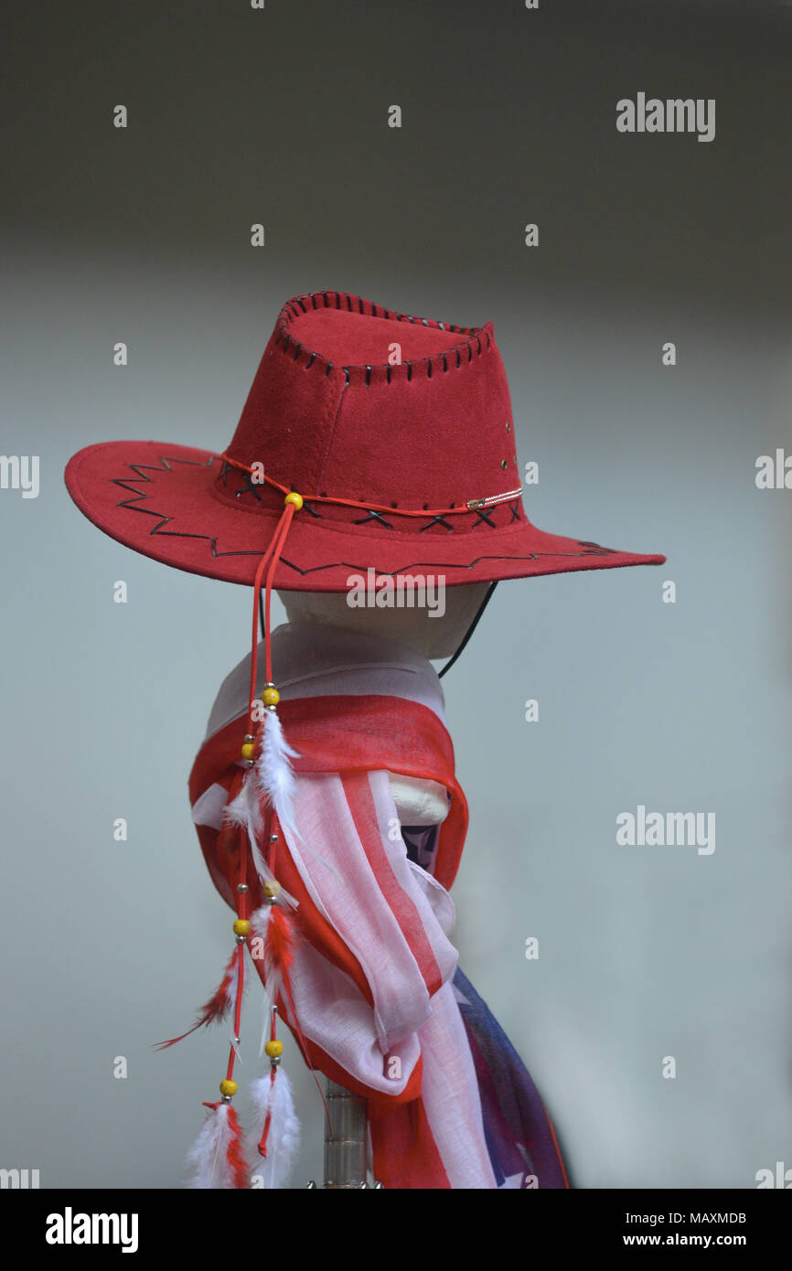 3b8e4a4ef69 Red western hat and usa flag close view on gray background - Stock Image