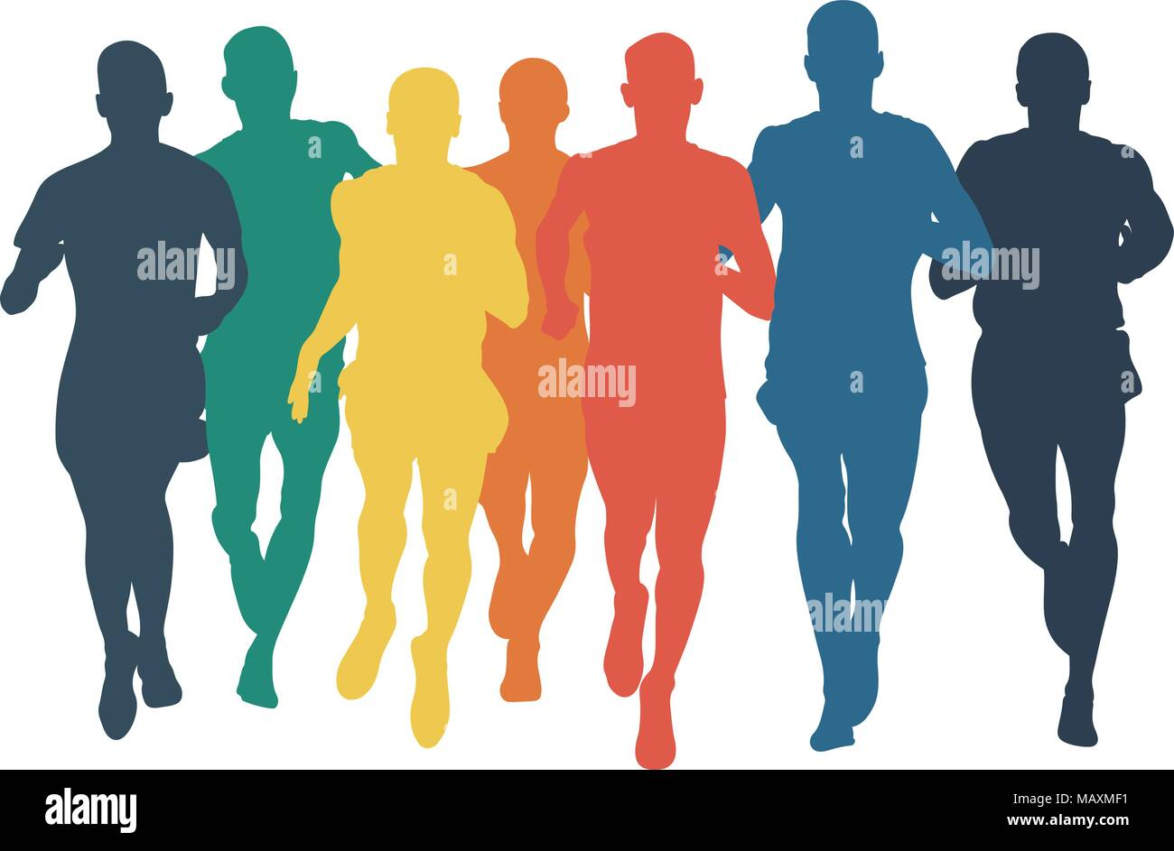 group runners men run colored silhouettes in flat design style - Stock Vector