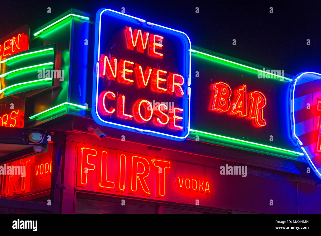 Neon lights of bars and nightclubs in Sunny Beach, Bulgaria - Stock Image