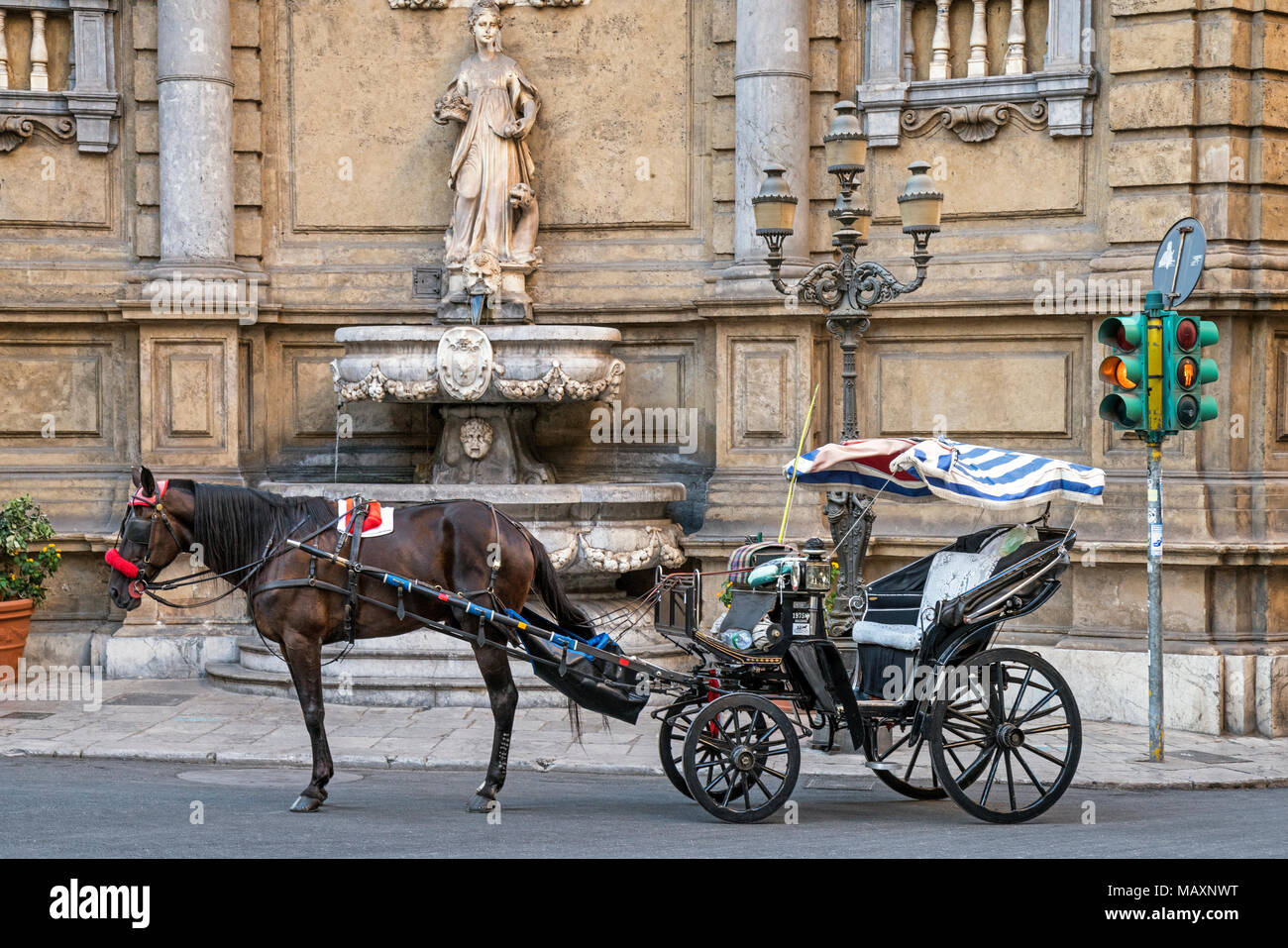 A horse and carriage at Quattro Canti in Palermo, Sicily. - Stock Image