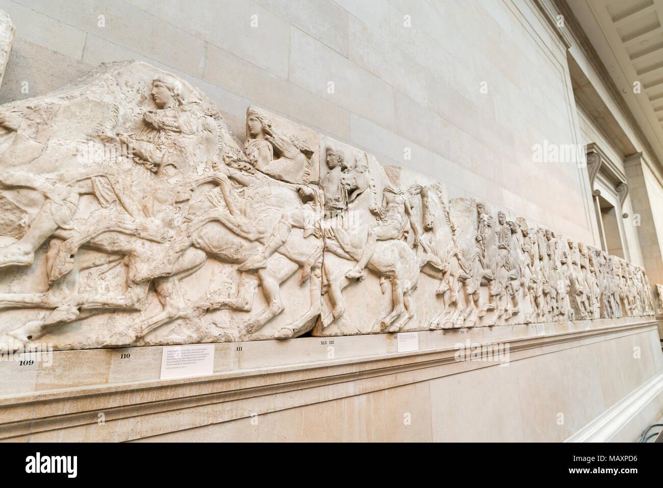 The Elgin marbles inside The British Museum, London, UK - Stock Image