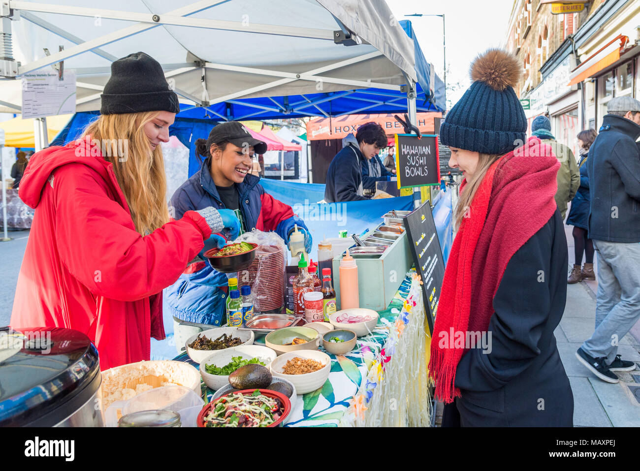 Street food stall at Chatsworth Road Market, Hackney, London, UK - Stock Image