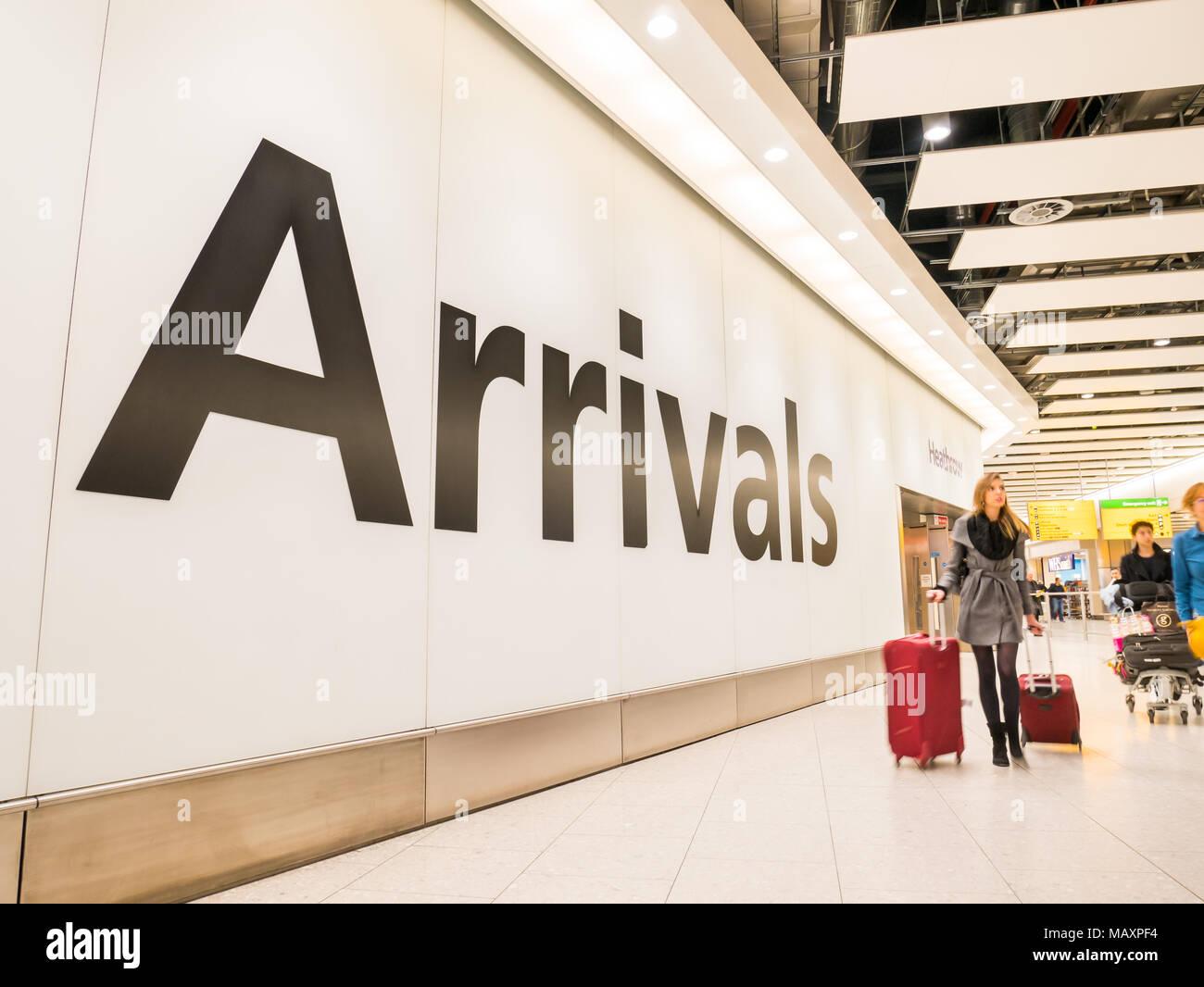 Arrivals at Heathrow Airport Terminal 4, London, UK - Stock Image