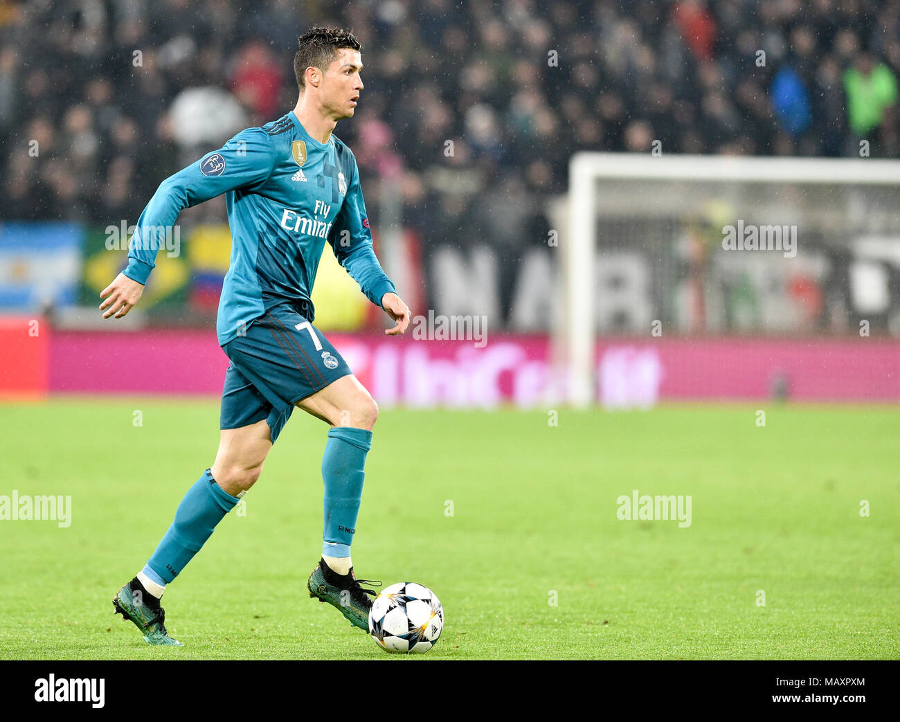Cristiano Ronaldo (Real Madrid Club de Fútbol),  during the UEFA Champions League quarter-finals 1st leg football match between Juventus FC and Real Madrid CF at Allianz Stadium on 03 April, 2018 in Turin, Italy. - Stock Image
