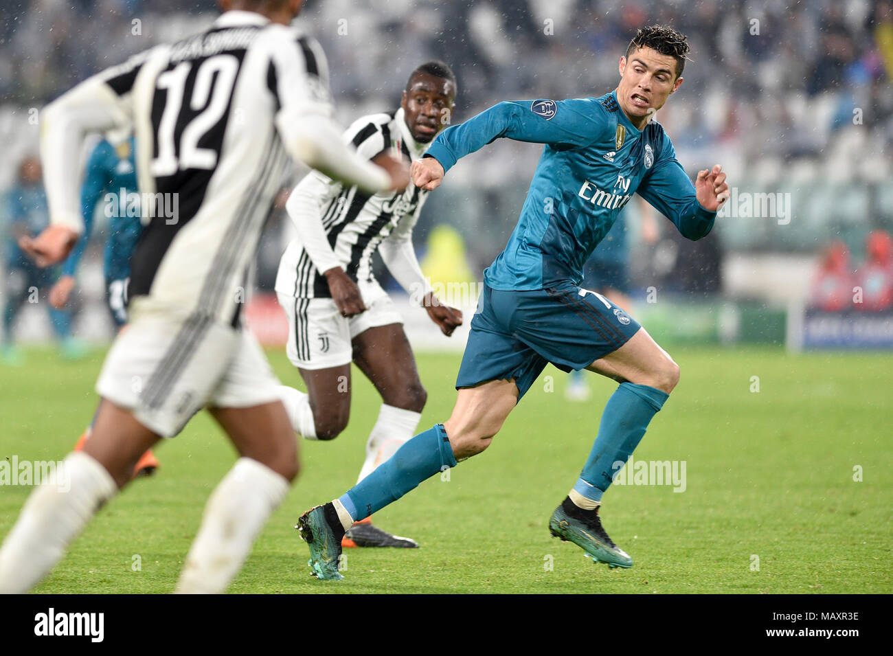 Cristiano Ronaldo (Real Madrid Club de Fœtbol),  during the UEFA Champions League quarter-finals 1st leg football match between Juventus FC and Real Madrid CF at Allianz Stadium on 03 April, 2018 in Turin, Italy. - Stock Image