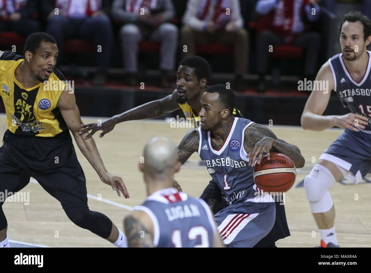 Strasbourg, France. 4th Apr, 2018. Dee Bost from SIG Strasbourg seen during the Basketball Champions League match between SIG Strasbourg and AEK. Credit: Elyxandro Cegarra/SOPA Images/ZUMA Wire/Alamy Live News - Stock Image