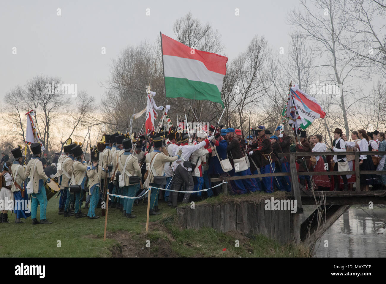 Tapiobicske, Hungary. 4th Apr, 2018. People re-enact a historic battle in Tapiobicske, Hungary, on April 4, 2018. Battle of Tapiobicske was fought on April 4, 1849 between the Hungarian army and the Austrian Empire during the Hungarian War of Independence. Credit: Attila Volgyi/Xinhua/Alamy Live News - Stock Image