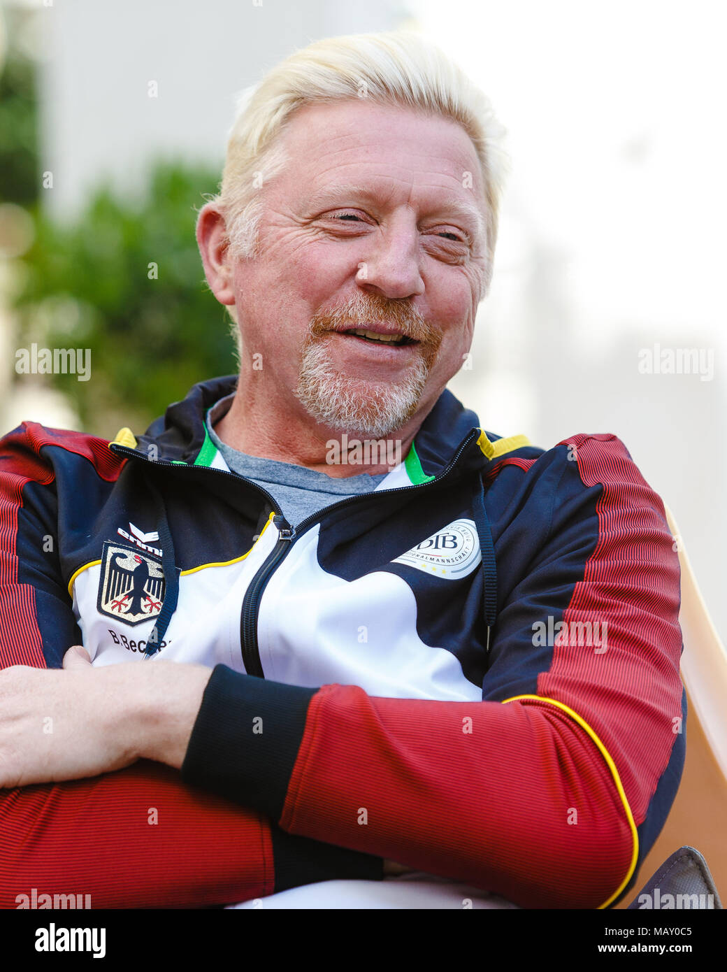 Valencia, Spain. 4th April, 2018. Germanys Head of men's tennis, Boris Becker, talks to the press before the Davis Cup Quarterfinal match between Spain and Germany at the Plaza de Torros. Credit: Frank Molter/Alamy Live News - Stock Image
