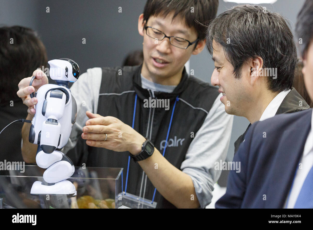 Tokyo Japan April 5 2018 An Exhibitor Shows A Robot Palro During