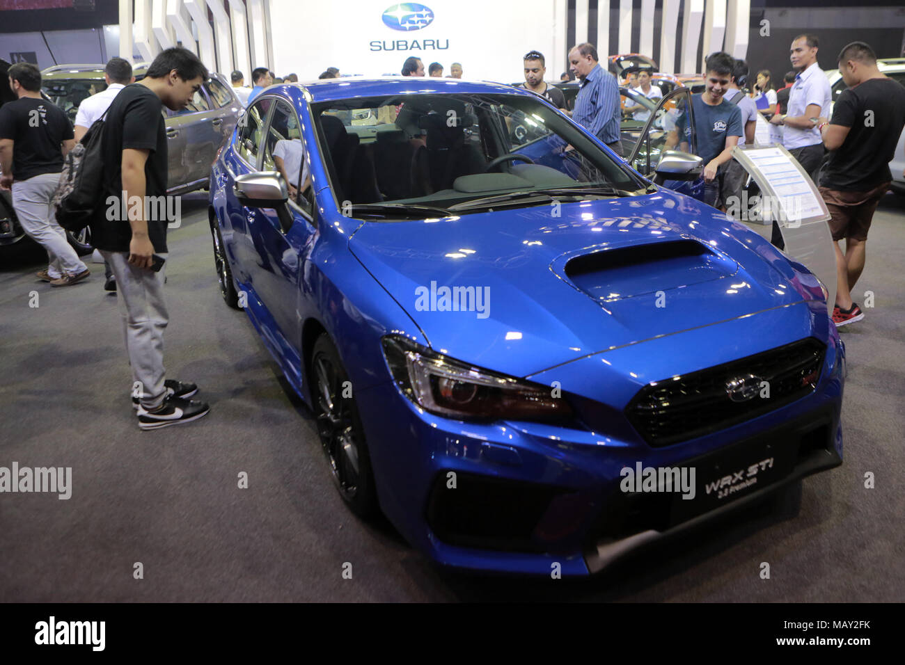 Pasay City, Philippines. 5th Apr, 2018. Visitors Look At A Subaru WRX STI  Car During The Annual Manila International Auto Show At The World Trade  Center In ...