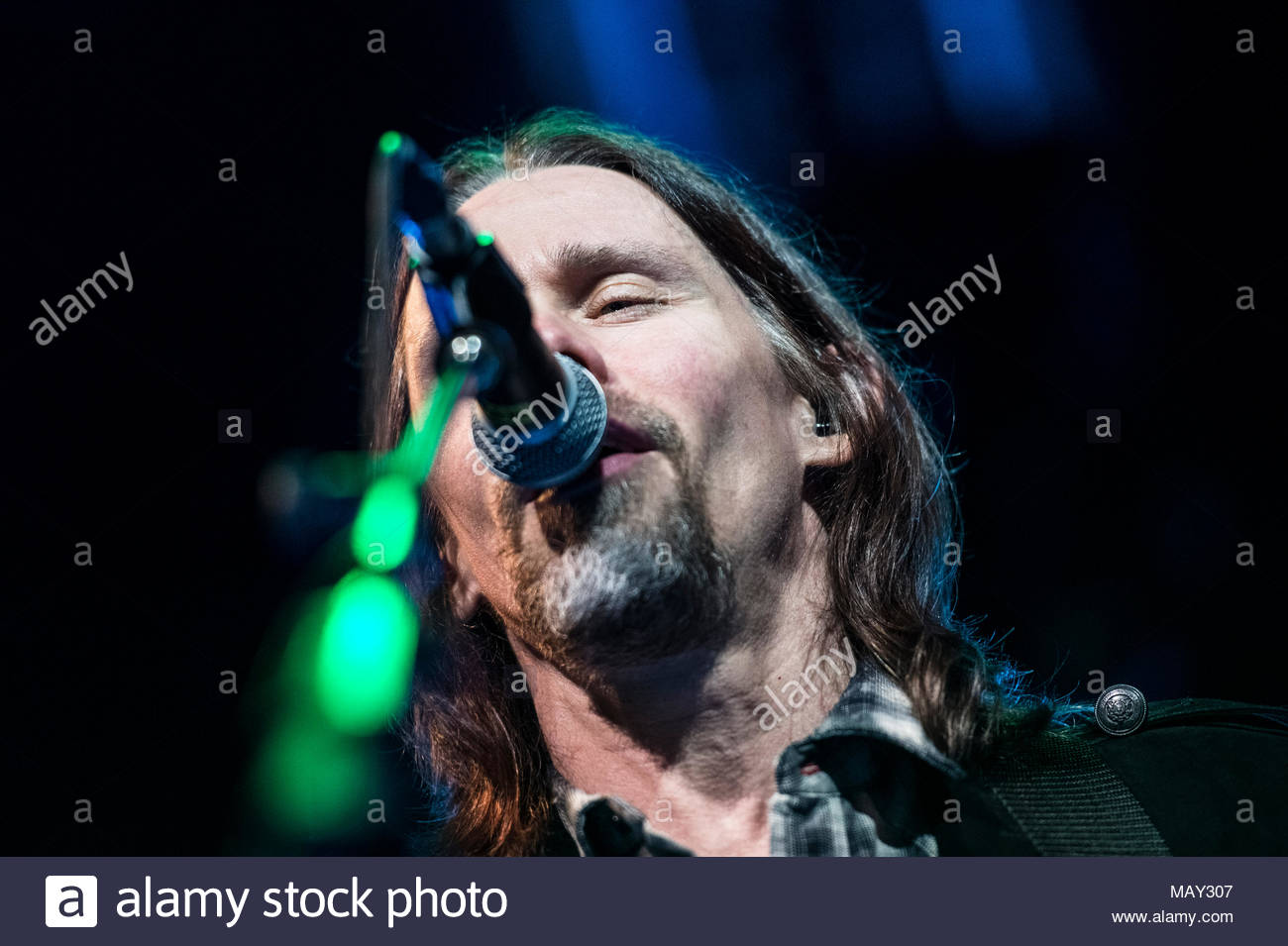 Myles Kennedy live on stage at Magazzini Generali in Milan, Italy  for his 'Storytelling Solo Tour' on April 4, 2018 © Elena Di Vincenzo - Stock Image