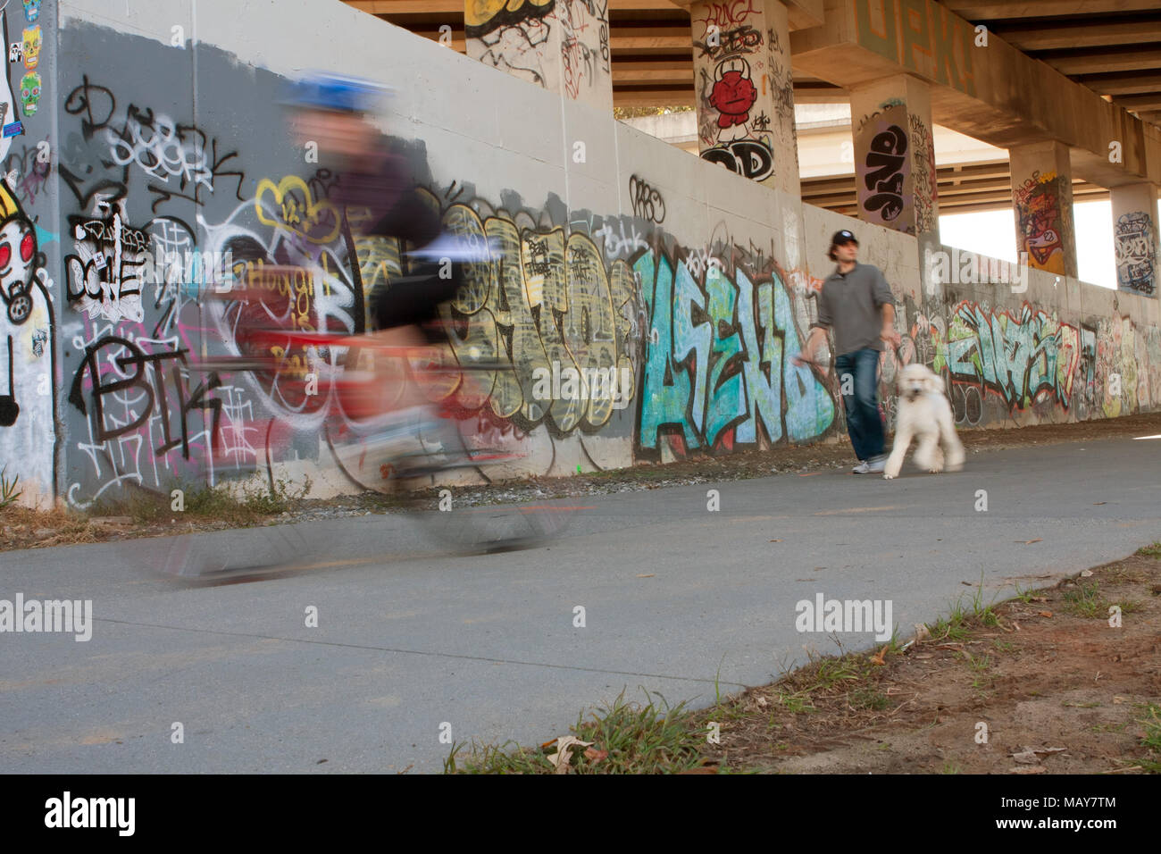Motion blur of people exercising along a graffiti covered trail that is part of the Atlanta Beltline, on November 2, 2013 in Atlanta, GA. - Stock Image