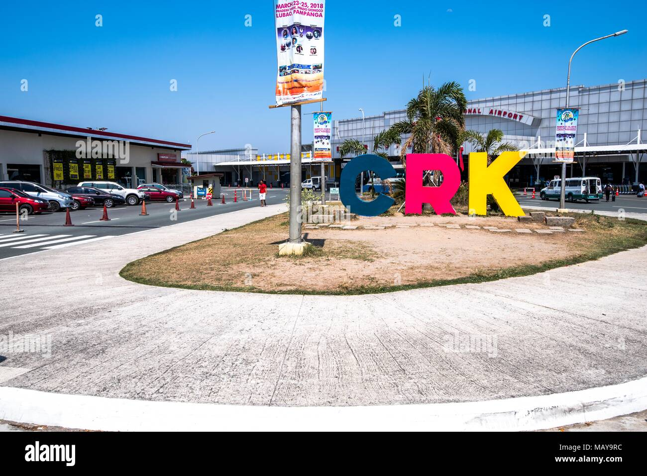 CLARK, PHILIPPINES - Mar 25,2018 Airport Sinage at Clark International Airport, an international gateway to the Philippines within Clark Freeport Zone - Stock Image