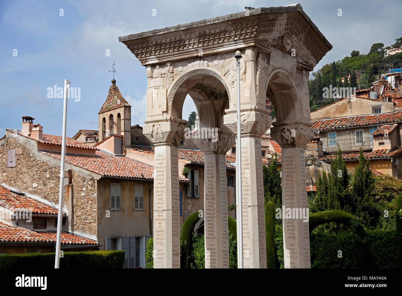 Aux Grassois Morts Pour La France, war monument at cathedral Notre-Dame du Puy, old town of Grasse, Alpes-Maritimes, South France, France, Europe Stock Photo