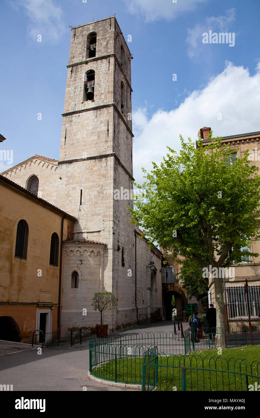 Bell tower of Cathedral Notre-Dame du Puy, Grasse, Alpes-Maritimes, South France, France, Europe - Stock Image