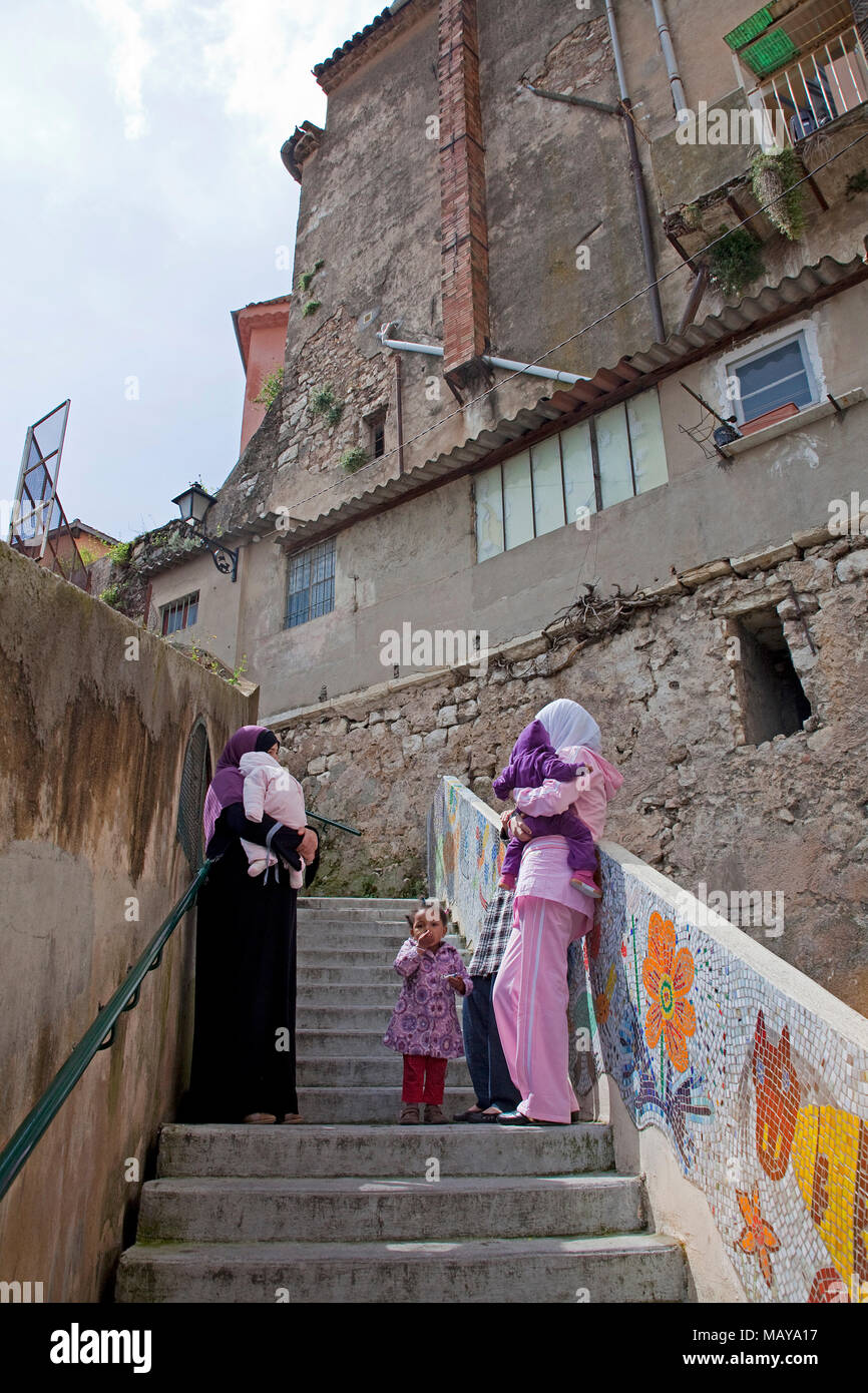 Muslims with children at old town of Grasse, Alpes-Maritimes, South France, France, Europe - Stock Image