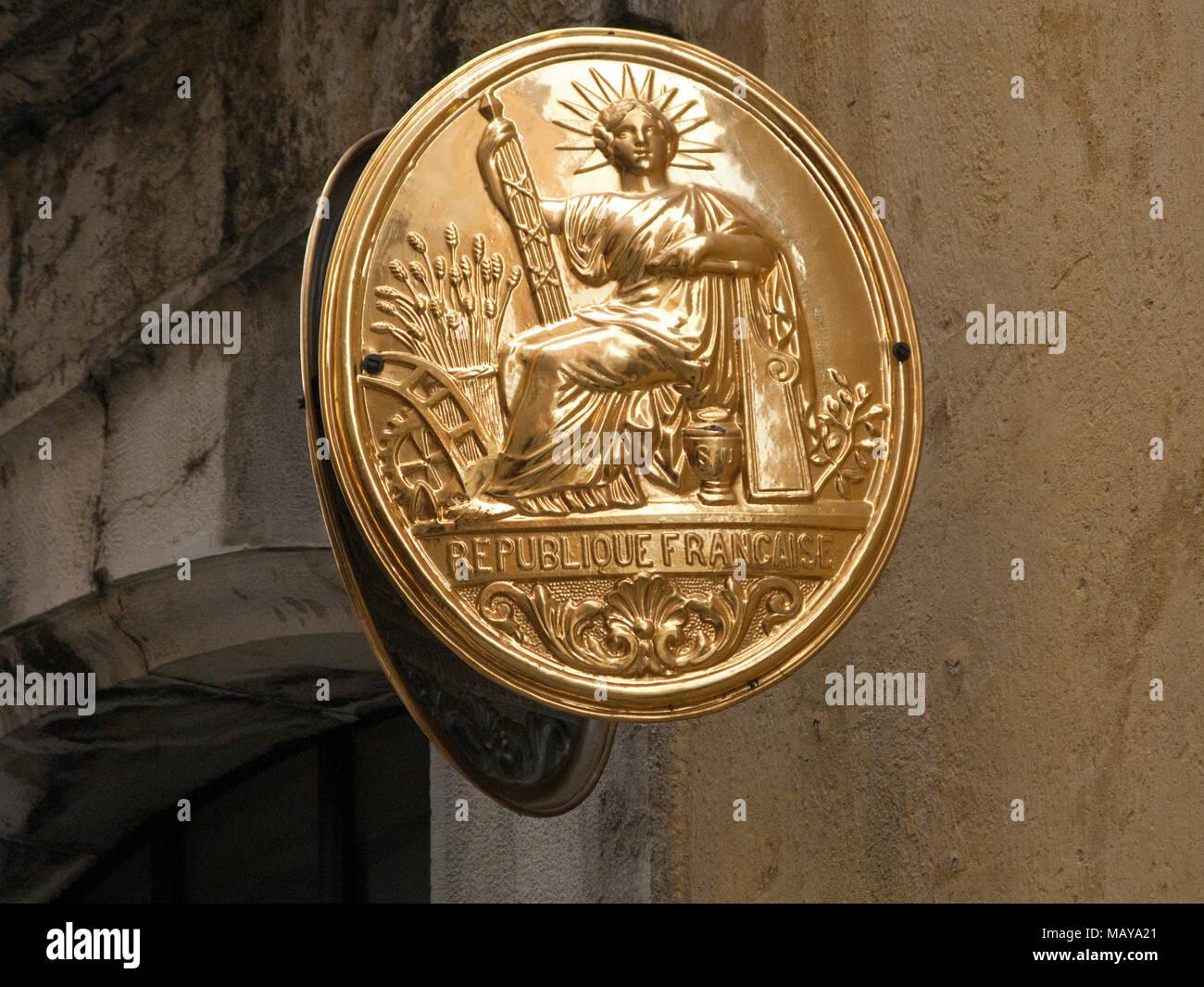 Golden national emblem at entrance of Musee Provencal du Costume et du Bijou, Grasse, Alpes-Maritimes, South France, France, Europe - Stock Image