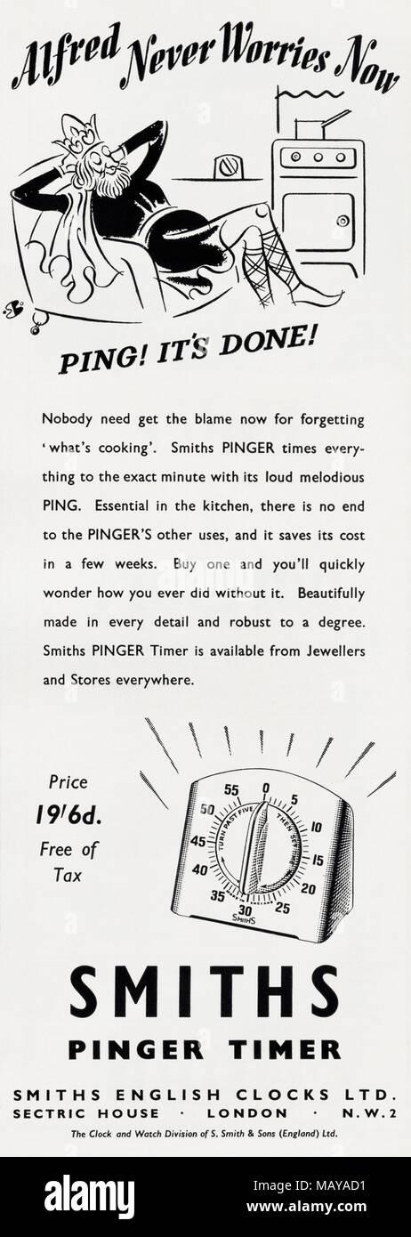 1950s original old vintage advertisement advertising Smiths Pinger Timer England UK in English magazine circa 1951 - Stock Image