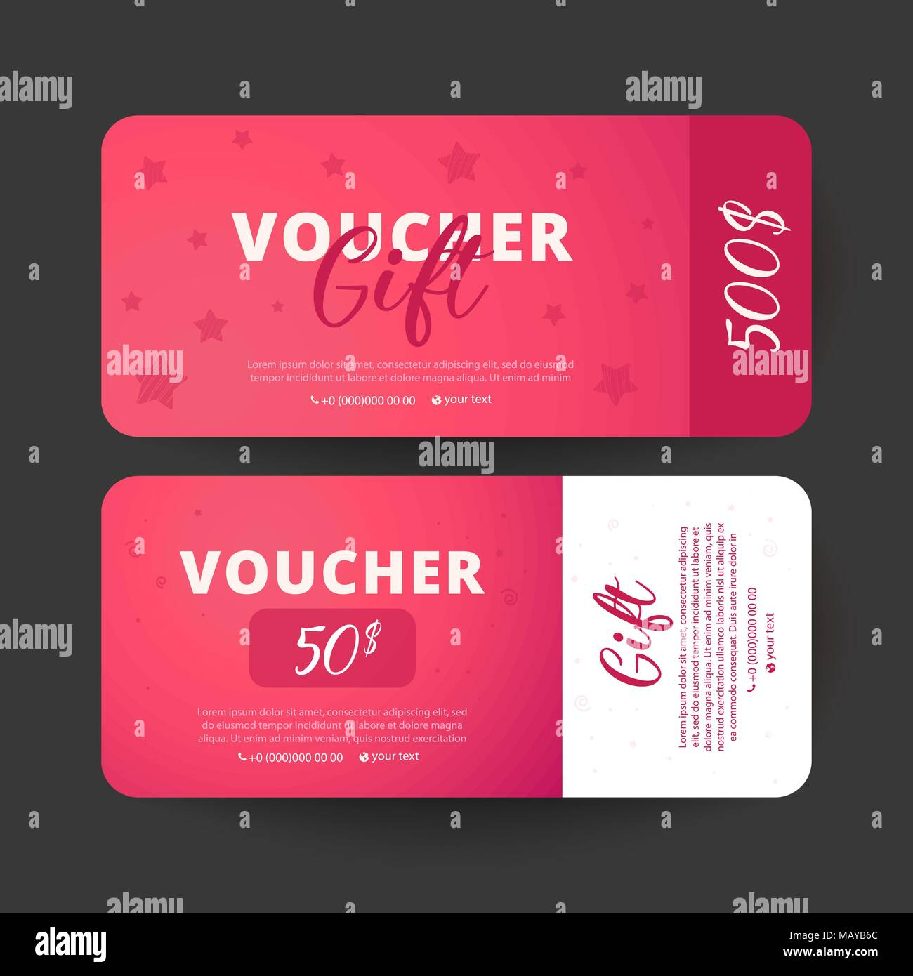 Gift Certificate Coupon Template With Mother Day Text On Gradient Background Flat Style Vector