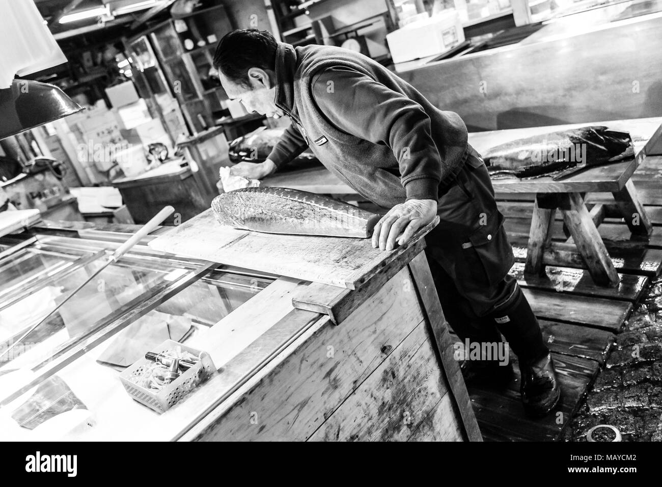 Tokyo, Japan.  Adult worker cutting tuna in Tsukiji Fish Market at early morning. - Stock Image