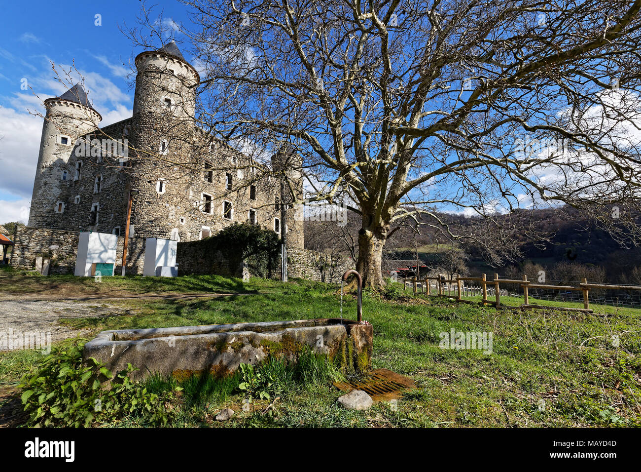 JARRIE, FRANCE, April 1st, 2018 : The castle of Bon Repos is a former strong house of XV century. Castle including the vestiges of the surrounding wal - Stock Image