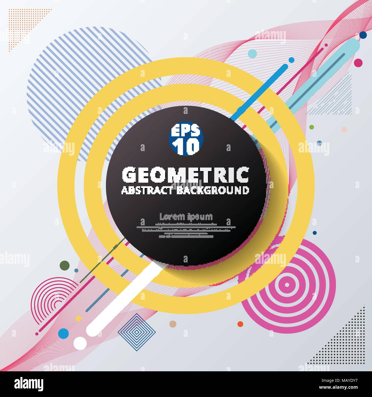 Geometric Flyer Template | Abstract Colorful Color Circle Geometric Pattern Design And