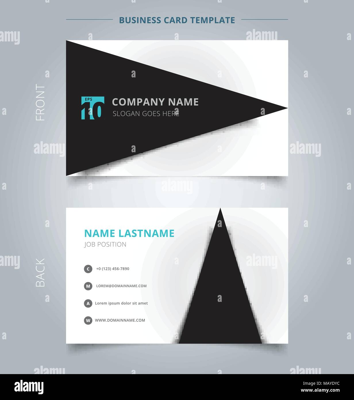 creative business card and name card template black triangle graphic with shadow on white color background abstract concept and commercial design v MAYDYC