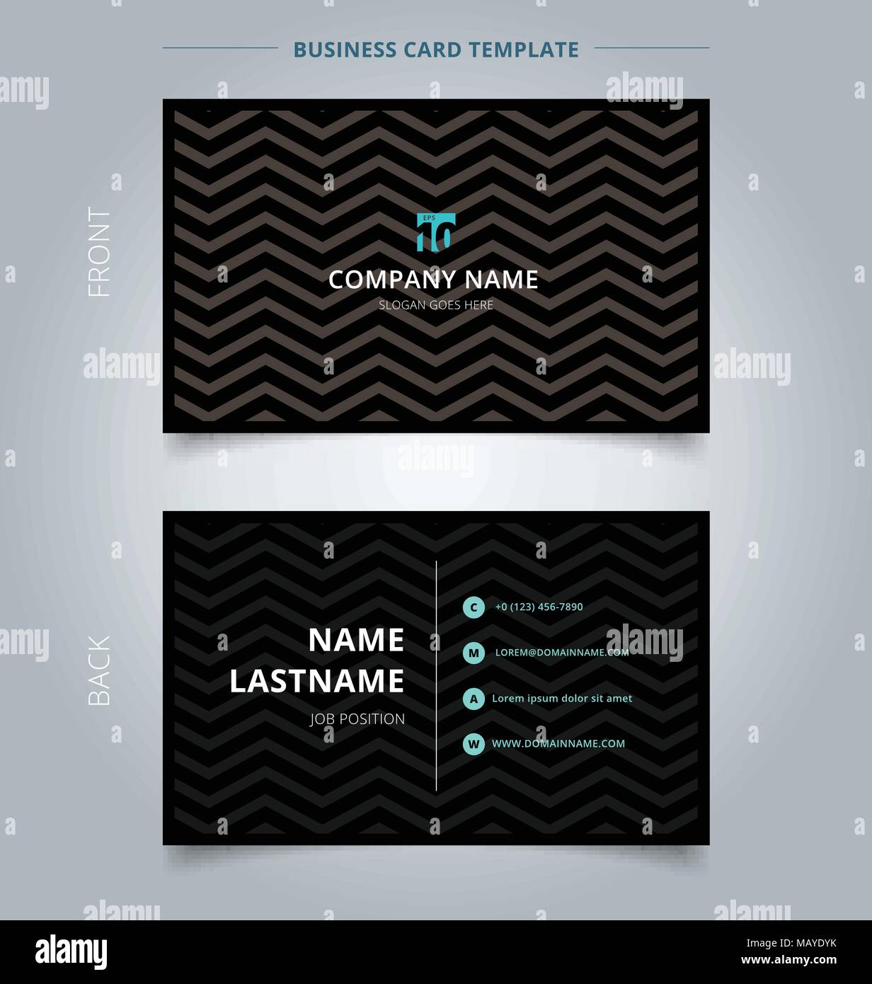 Creative business card and name card template, chevron pattern on ...