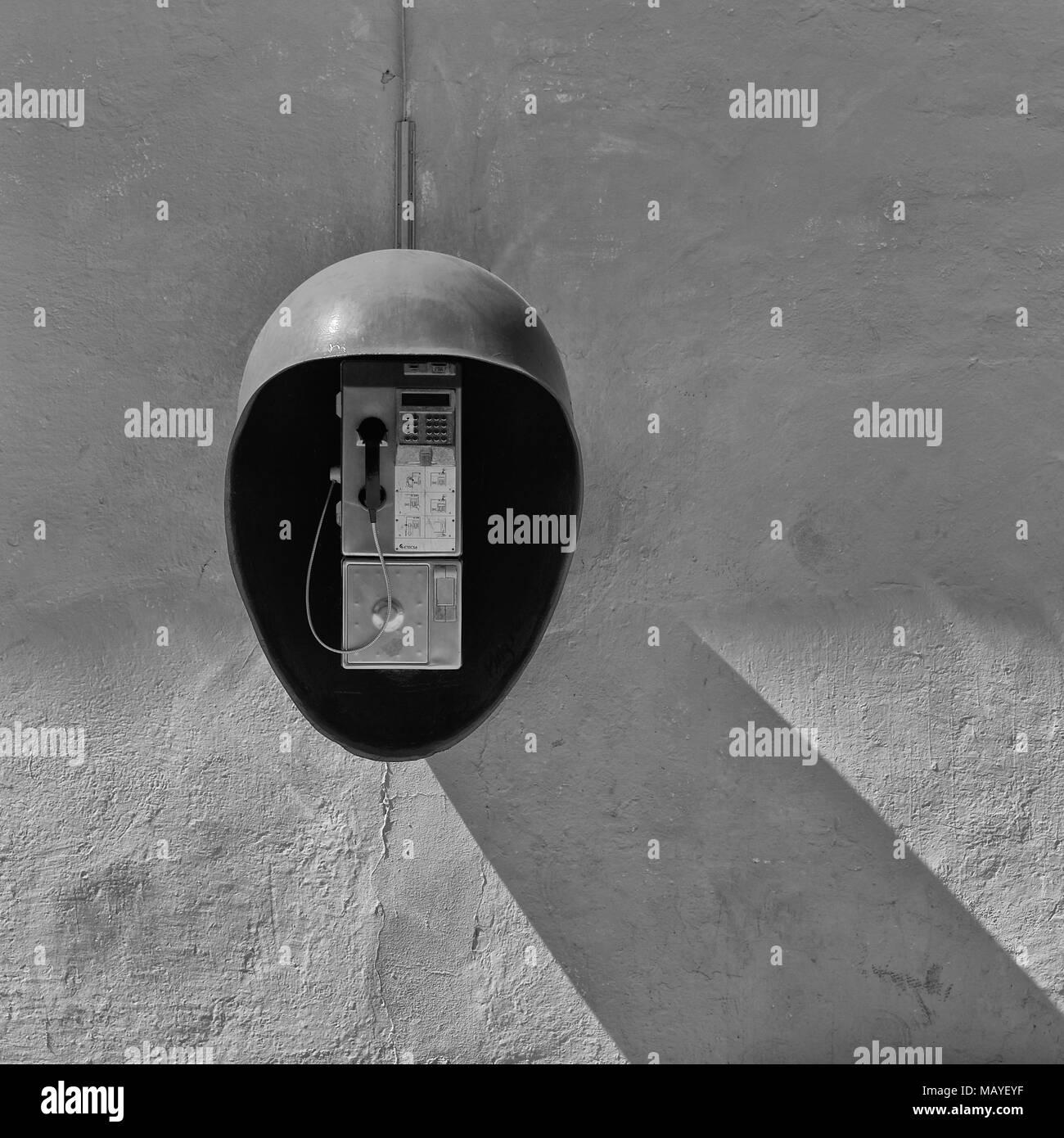 Wall mounted public payphone, Cienfuegos  Cuba, caribbean, - Stock Image