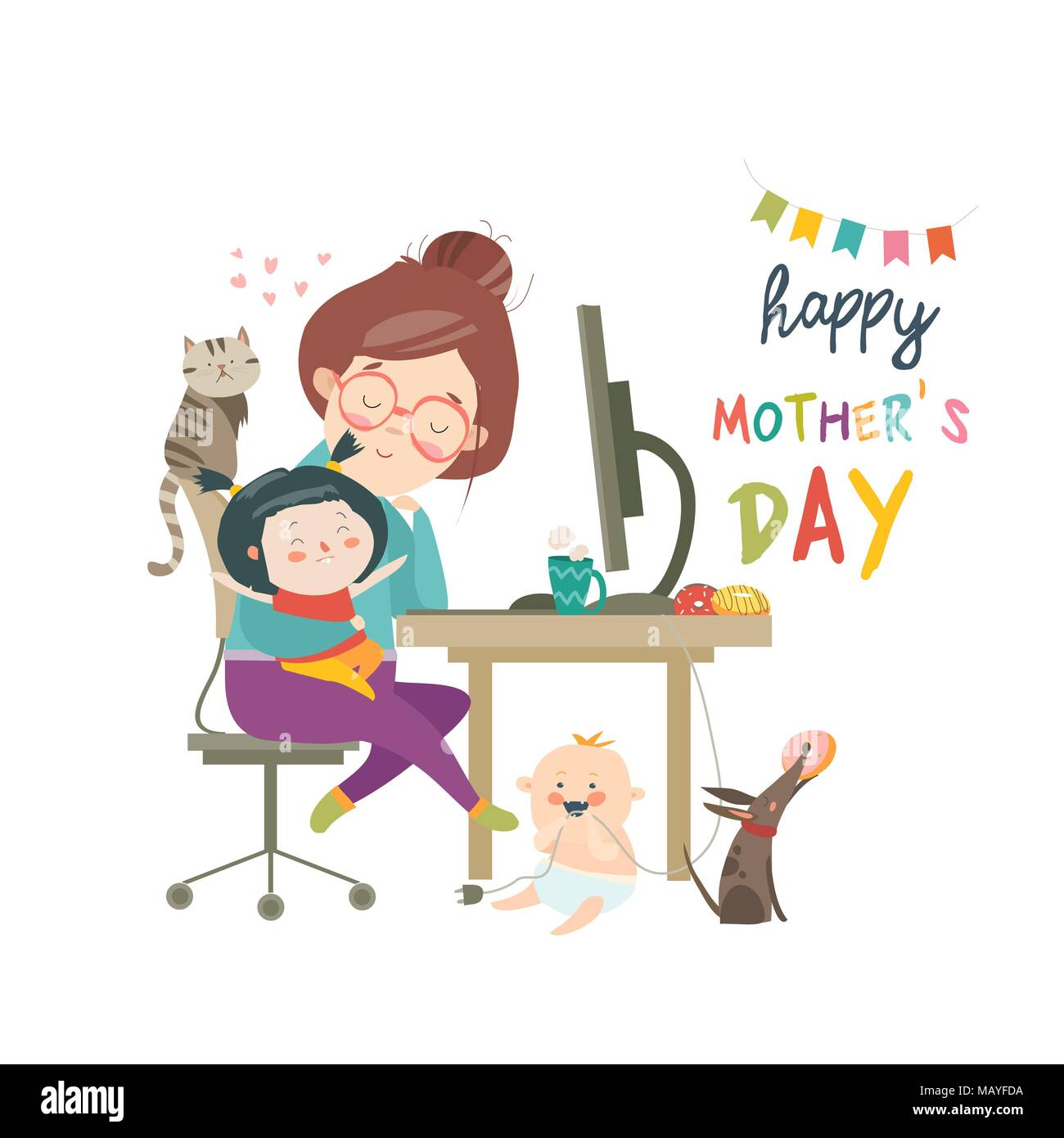 Working at home mother, freelancer with two kids - Stock Image