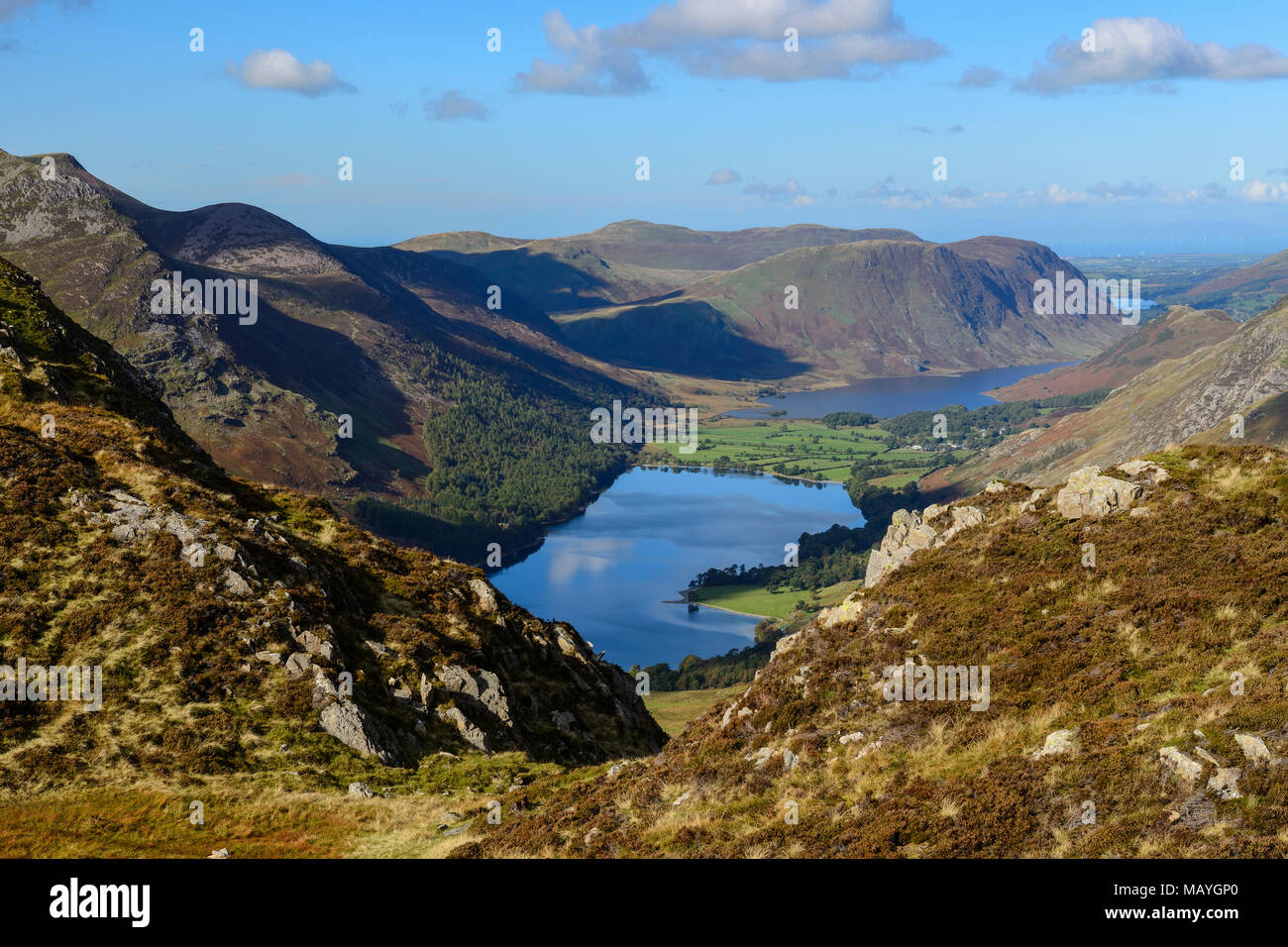 View over Buttermere and Crummock Water from Fleetwith Pike in the Lake District National Park in Cumbria, England Stock Photo