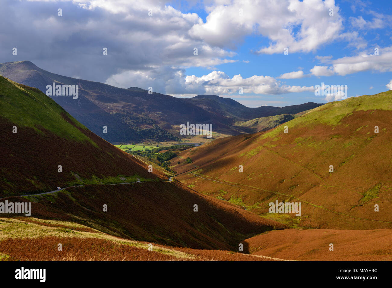View from Newlands Pass along unclassified road in Buttermere Valley leading to Buttermere in the Lake District National Park in Cumbria, England Stock Photo