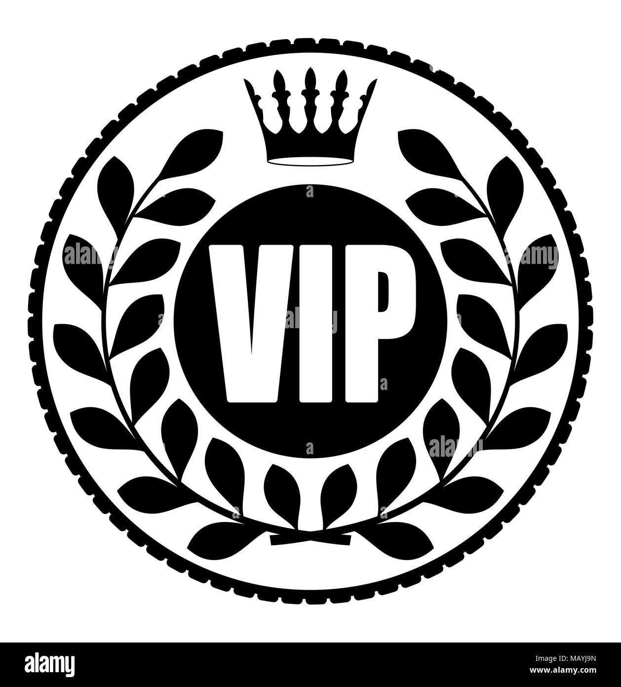 Black Round VIP Rubber Stamp Style Icon With Crown And Wreath Of Laurel Leaves On A Dark Background