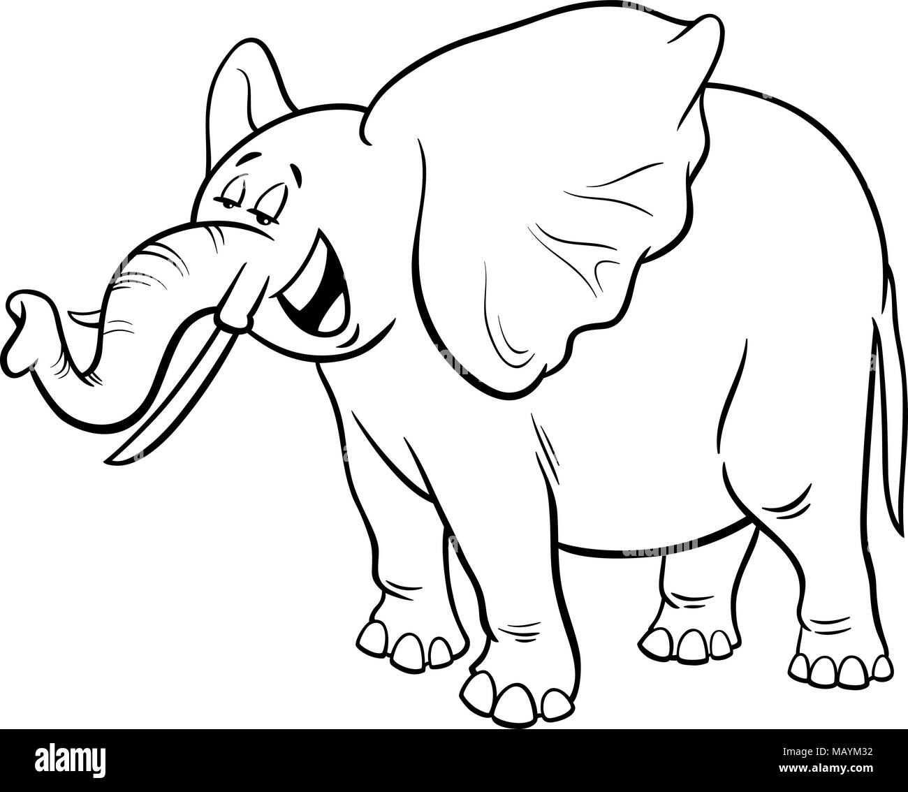 Black and White Cartoon Illustration of Funny Gray African Elephant ...