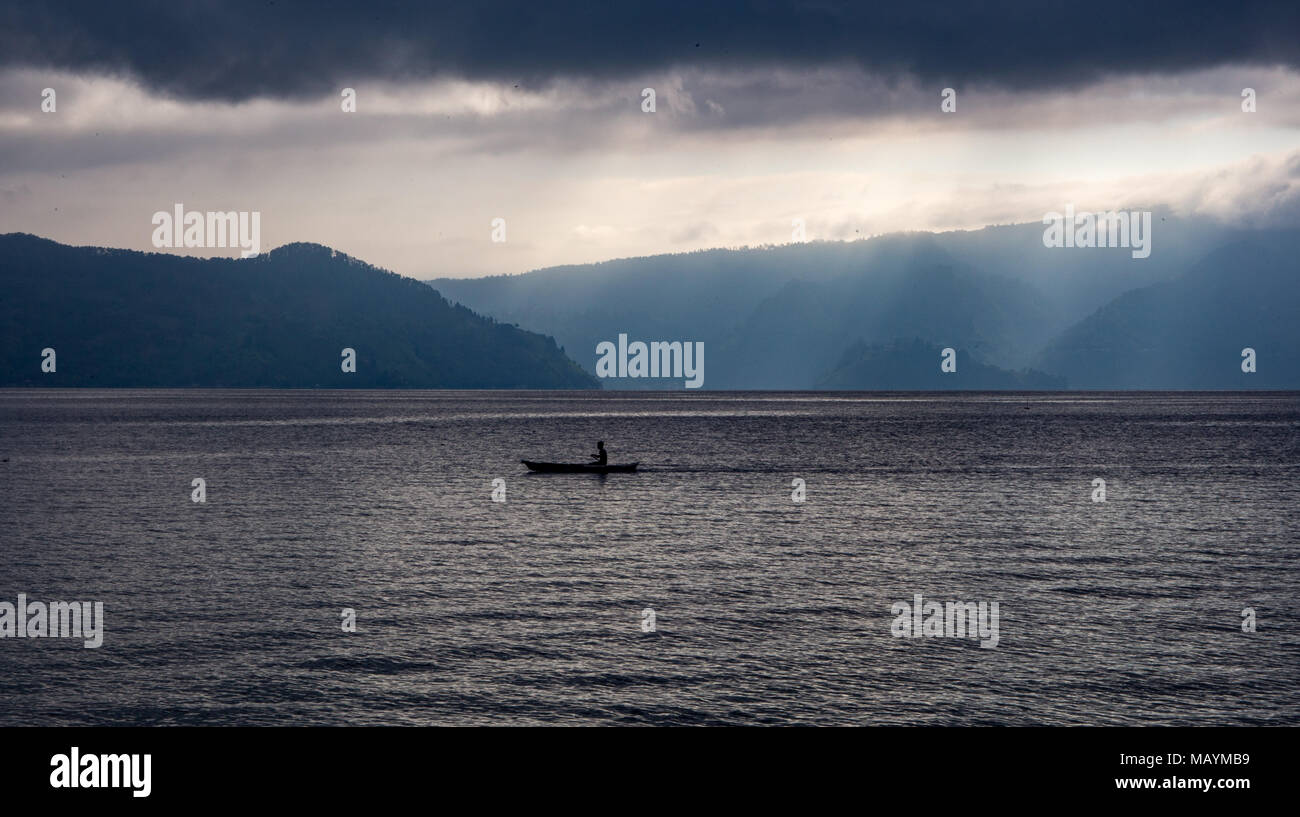 Lake Toba (North Sumatra) is one of the largest Volcanic Lakes. Took us a cramped 8 hour bus journey to reach this destination. - Stock Image
