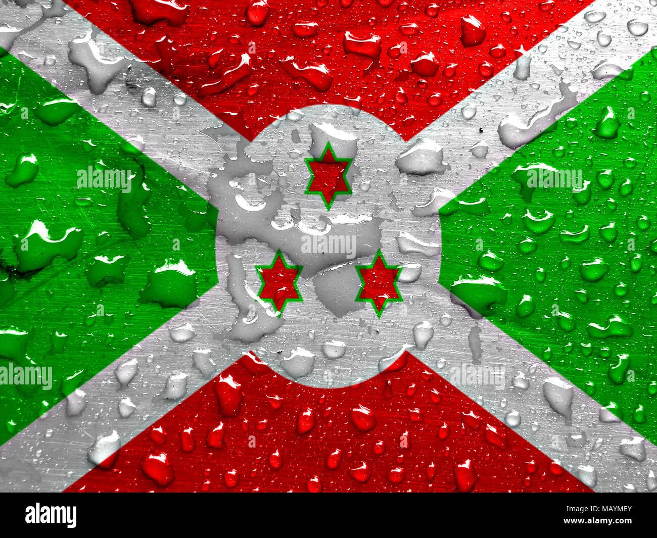 flag of Burundi with rain drops - Stock Image