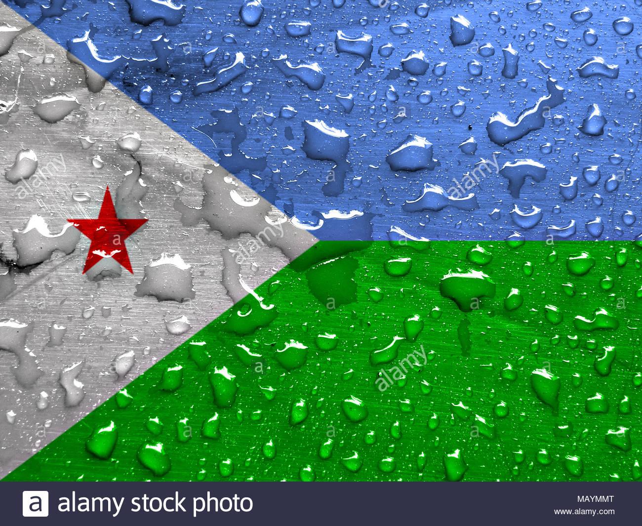 flag of Djibouti with rain drops Stock Photo